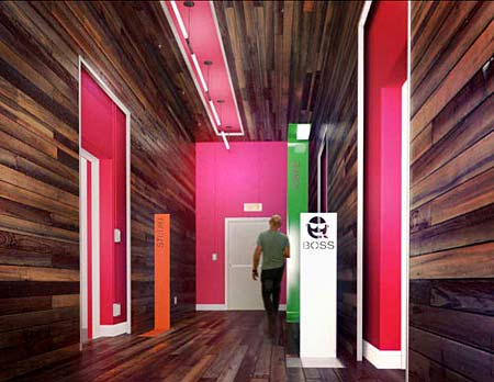 Upperkut/Publicity agency - Laminate flooring on walls and ceiling